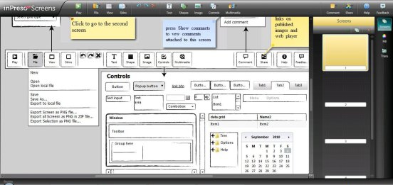 Screenshot of a wireframe app (inPreso)